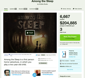 Faksimile av Kickstarter-siden til Among the Sleep.