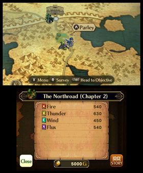 Fra verdenskartet kan du gå videre i historien, handle våpen, eller utfordre nye fiender.