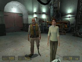 Dr. Mossman og Eli reagerer ikke på at du løper tulling i Half-Life 2.