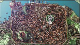 Oversiktsbilde over byen.