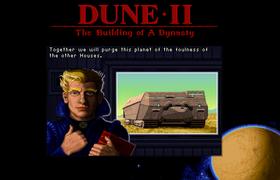 Skjermbilde fra nettleserutgaven av Dune II.