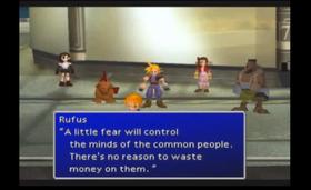 President Rufus Shinra forteller om hvordan han skal lede befolkningen.