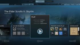Slik ser Skyrims spillside ut i storskjermmodusen.