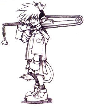 Det aller første konseptbildet av Sora, vist fram som en løvegutt med motorsag. Spesielt motorsagen krasjet med Disneys målgruppe. (Kilde: www.squarelair.ffworld.com)