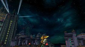 Hver planet er minneverdig og unik. Her ser vi heltene når de besøker Blackwater City for første gang. (Ratchet & Clank)