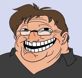 En blanding av Valve-sjef Gabe Newell og trollface-memet.