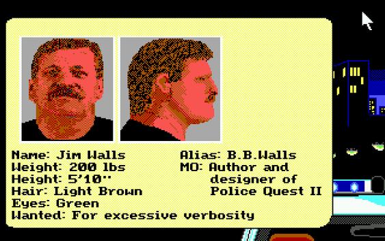 Et par bilder fra Police Quest II til slutt. Her er spillskaper Jim Walls.