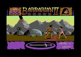 Bilder fra Commodore 64-versjonen av Barbarian II.
