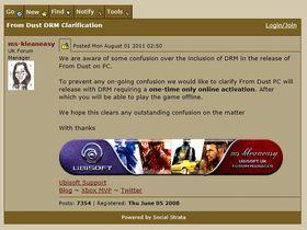 Klargjøringen på Ubisoft-forumet (bilde tatt i går, før den ble fjernet).