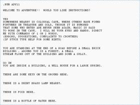 Utskrift av den første «skjermen» av Colossal Cave Adventure spilt på PDP-10 (bilde: Wikipedia).