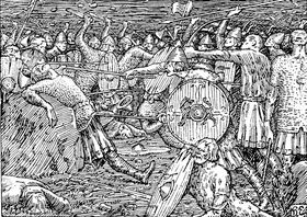 Jeg takker ja til et vikingspill (illustrasjon: Halfdan Egedius, hentet fra Wikipedia).