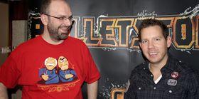 Adrian Chmielarz (t.v.) og Cliff Bleszinski har jobbet tett med Bulletstorm. (Foto: Mikael H. Groven/Gamer.no)