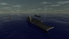 Russisk flåtegruppe sentrert rundt hangarskipet Admiral Kuznetsov.