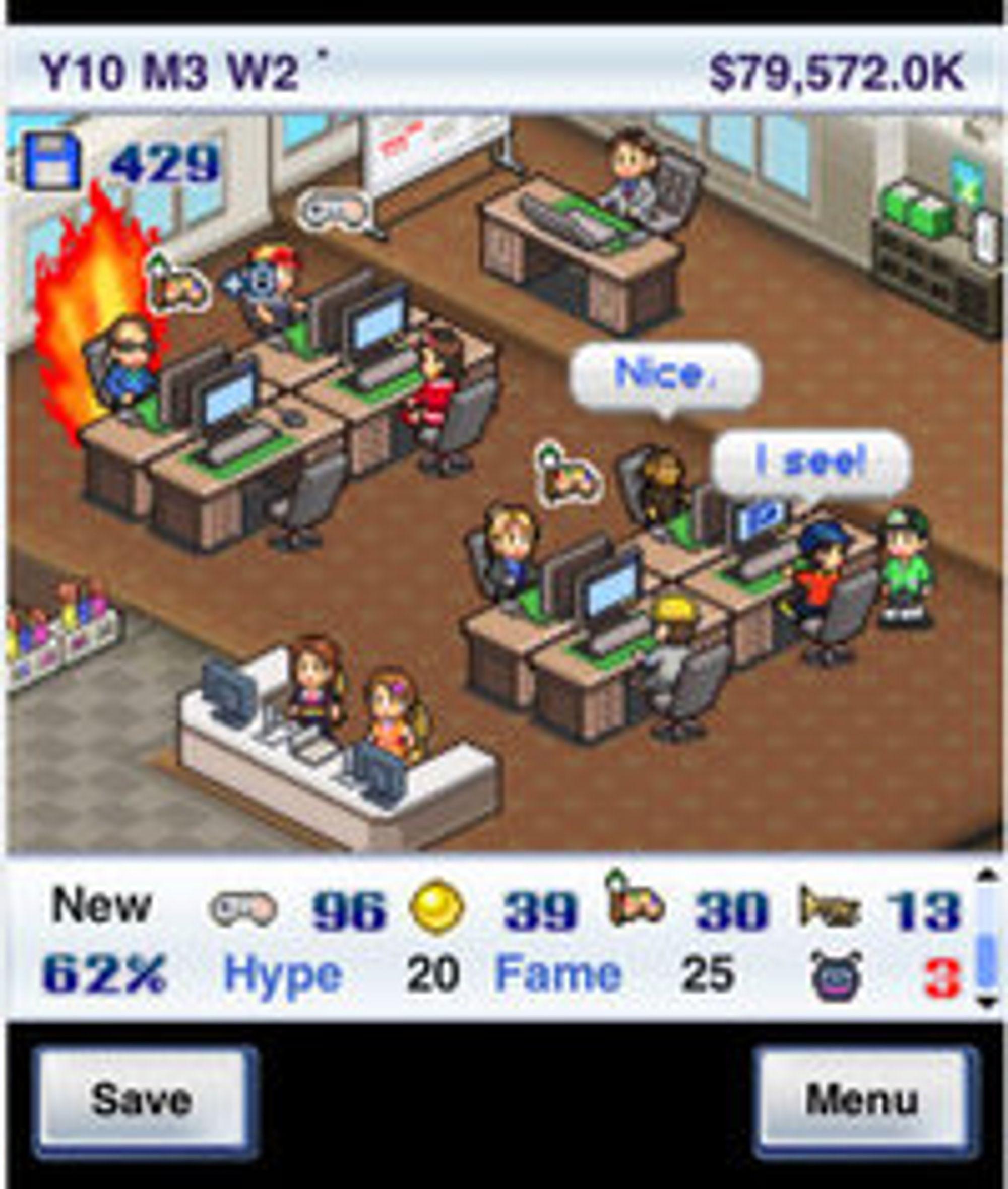 Det er ikke lett å drive spillselskap (bilde: Game Dev Story på iPhone).