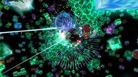 De grønne boksene må «blåses» unna for å kunne skyte missiler på den røde kjernen.