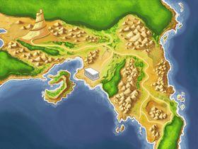Et kart over Mytos sin spillverden.