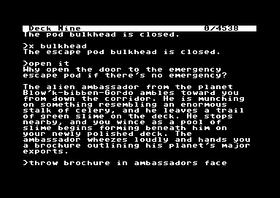 Infocom-spillet Planetfall, for anledningen spilt på C64.