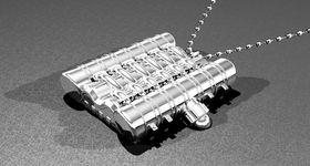 «Engine Block» er produsert i massivt sølv, og selges ikke i butikkene. Merk: Dette er ikke et fotografi av smykket, men en datalagd illustrasjon.