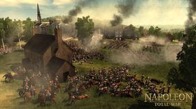 Napoleon med sin hær i kamp.