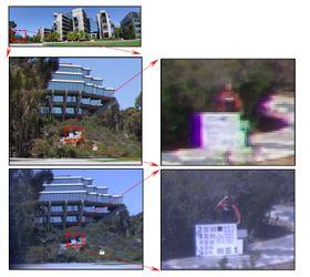 Fordelen med monosentrisk linse. Bildet på toppen ble tatt med et konvensjonelt vidvinkelobjektiv med 12 mm brennvidde. I midten ser vi an forstørrelsen av et utsnitt fra kanten av bildet. Underst ser vi et bilde tatt med en monosentrisk linse foran et digitalt mikroskop. Dette bildet brukte ikke fiberkoblingen, men det viser potensialet i monosentriske linser.