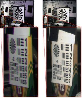 Forskjellen i oppløsning mellom et konvensjonelt objektiv (venstre) og et fiberkoblet monosentrisk kamera (høyre). Begge bildene er tatt med 12mm brennvidde på en 5 megapiksel sensor, 60 grader ute av senter.