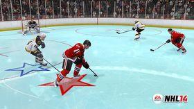Legg merke til den blå isen og stjernene under spillerne i «NHL '94 Anniversary Mode».