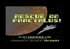 Tittelskjermen til Rescue on Fractalus på C64.