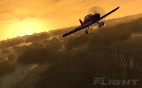 Microsoft Flight flyr inn i solnedgangen uten mer innhold.