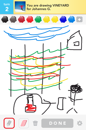 Slik så det ut da jeg prøvde å tegne en vingård.