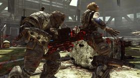 Blod og bannskap i Gears of War 3.