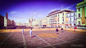 Fotball i sentrum.