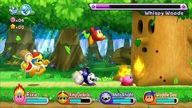 Kirby får god hjelp av vennene sine.