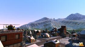 Store fjell i bakgrunnen.