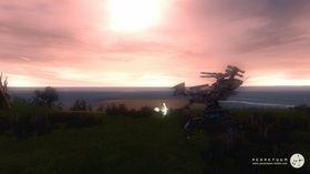 Robot i solnedgang.