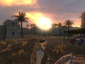 Solnedgang i ørkenen.