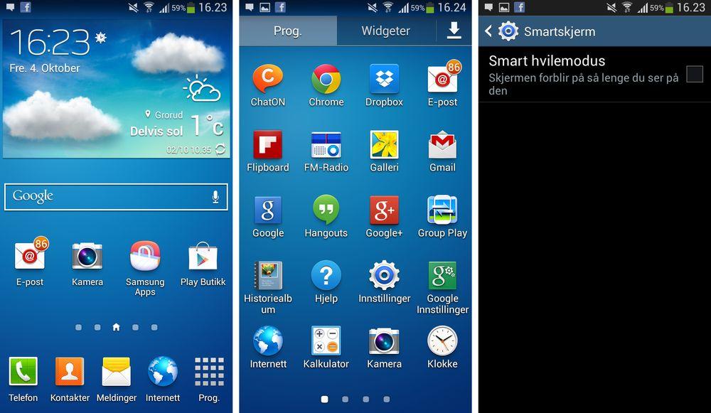 Menyene i Galaxy S4 Mini likner på de vi støter på i Samsungs toppmodell - men her mangler det også mange funksjoner og valg som toppmodellen kan gi.