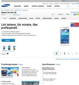 Slik markedsføres Galaxy S4 Mini av Samsung. Vi merker oss at vårt testprodukt ikke leveres med S-Health.