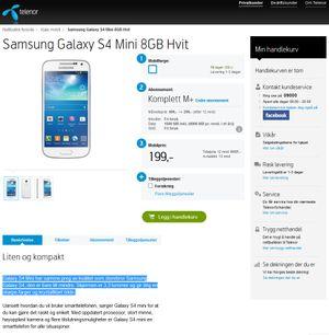 Slik markedsføres Galaxy S4 Mini av Telenor.