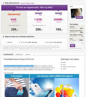Slik markedsføres Galaxy S4 Mini av NetCom.