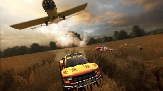 Noe av det mest overraskende var øyeblikket da et fly kom stupende over billøpet. Det viser at dette er skriptet.