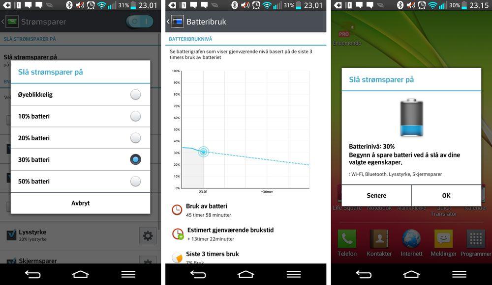 LG G2 har i utgangspunktet veldig god brukstid på en lading. Batterisparefunksjonen gjør den enda bedre.