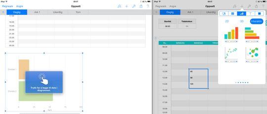Regnearket Numbers har i likhet med de andre iWork-appene også fått en ny og oversiktlig verktøylinje øverst, samt mulighet for interaktive diagrammer.
