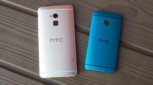 HTC One Max kommer bare i sølvgrått, mens HTC One (til høyre) nå finnes nå i flere spreke farger.
