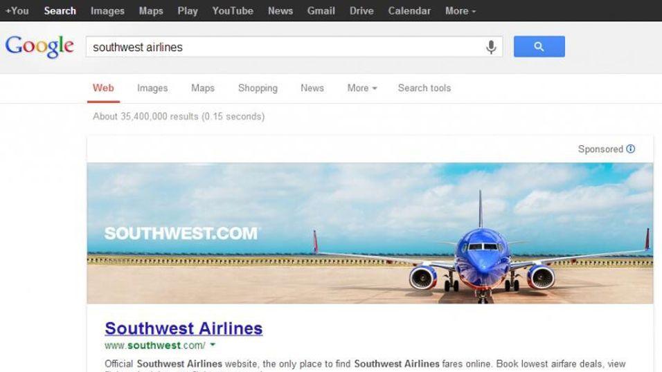Denne skjermdumpen viser hvordan øverste del av de sponsede søkeresultatene kan se ut.