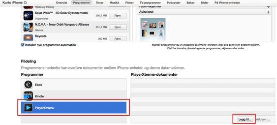 I iTunes kan du overføre filer som skal gjøres tilgjengelig for kun en bestemt app på iPad eller iPhone.