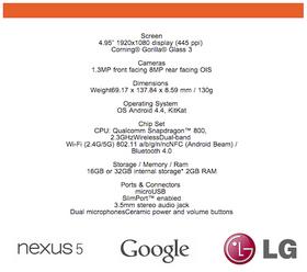 Denne spesifikasjonslisten lå ute sammen med en nettside for registrering av interesse rundt Nexus 5.