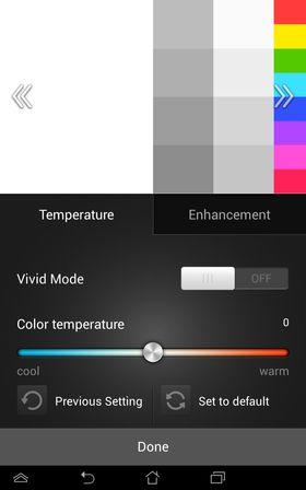 Du kan justere fargene noe ved hjelp av en egen app fra Asus.