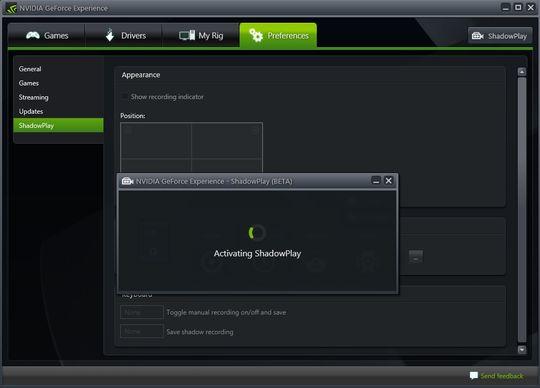 Etter å ha åpnet GeForce Experience kan man starte ShadowPlay med en liten knapp øverst i høyre hjørne, og så er man klar til å ta opp alt som skjer i spillene sine.