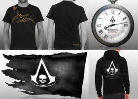 T-skjorte, lommeur, piratflagg og hettegenser.
