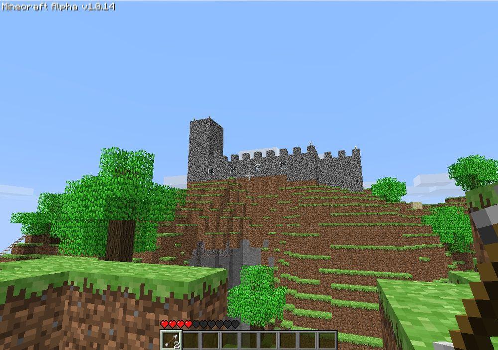 Mitt første slott fra alfa-versjonen av Minecraft.